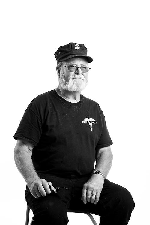 Allen Rienhardt<br /> Navy &amp; Marine Corps<br /> E-5<br /> 1966-1972<br /> Corpsman<br /> Vietnam<br /> <br /> Veterans Portrait Project<br /> Laconia, NH<br /> Laconia Bike Week
