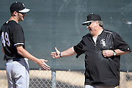 GLENDALE, AZ - FEBRUARY 24:  Chris Sale #49 (L) shares a laugh with pitching coach Don Cooper of the Chicago White Sox during spring training workouts on February 24, 2015 at The Ballpark at Camelback Ranch in Glendale, Arizona. (Photo by Ron Vesely)   Subject:   Chris Sale; Don Cooper