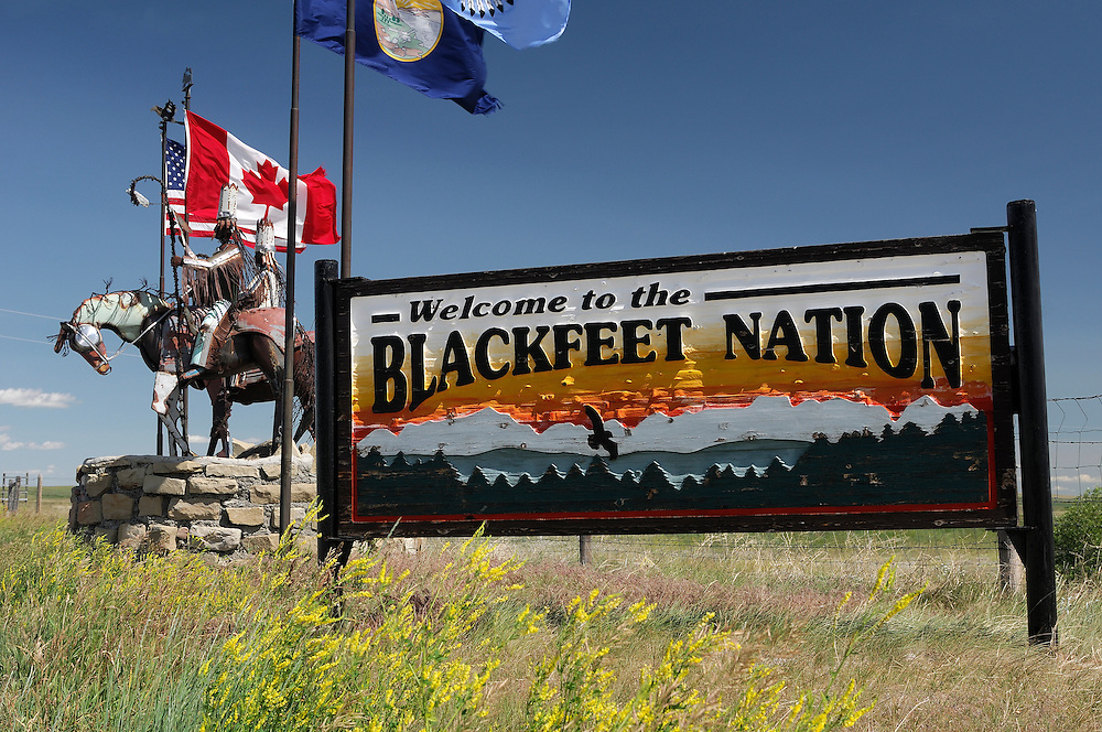 Welcome sign, Blackfeet Indian Reservation, near Browning, Montana, USA