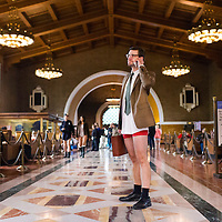 LOS ANGELES, CA - January 10, 2016 - No Pants Metro Ride. For the 8th year in a row, GuerilLA participated in Improv Everywhere's international No Pants Subway Ride and filled the Metro with bare legs and rosy bums. Brave Angelenos from all over the city hit the tunnels in their cleanest tighty-whiteys, and not much else. Riders converged in Downtown Los Angeles at Union Station before venturing on to Hollywood for happy hour.