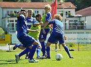 07-08-2008 Voetbal:Willem II:Bad-Schandau:Duitsland<br /> Willem II is in Oost Duitsland in Bad-Schandau voor een trainingskamp.<br /> Mehmet Akgun snijdt door de verdediging heen van Veloso, Swinkels en Mathijssen. Demouge kijkt hoe zijn maatje er doorheen komt<br /> <br /> foto: Geert van Erven
