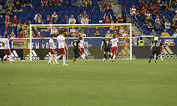 September 27, 2017 - Harrison, New Jersey, United States - Patrick Mullins (16) of DC United scores goal during regular MLS game against New York Red Bullsd at Red Bull Arena Game ended in draw 3 - 3  (Credit Image: © Lev Radin/Pacific Press via ZUMA Wire)