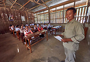 Laos, Luang Prabang Province.<br /> A village school near Luang Prabang.