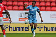 Forest Green Rovers Ebou Adams(14) on the ball during the EFL Cup match between Charlton Athletic and Forest Green Rovers at The Valley, London, England on 13 August 2019.