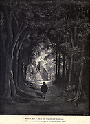 """He sees a flight of steps, a gate overgrown with truant roses, and some one beside the gate in that warm sunshine dozes."""" Illustration from 'The Sleeping Beauty' by Paul Gustave Doré (1832-1883). The prince approaches the castle, dormant for 100 years. From the book Fairy realm. A collection of the favourite old tales. Illustrated by the pencil of Gustave Dore by Tom Hood, (1835-1874); Gustave Doré, (1832-1883) Published in London by Ward, Lock and Tyler in 1866"""