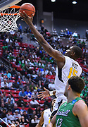SAN DIEGO, CA - MARCH 18:  West Virginia Mountaineers forward Lamont West (15) scores on a layup during a second round game of the Men's NCAA Basketball Tournament against the Marshall Thundering Herd at Viejas Arena in San Diego, California.  (Photo by Sam Wasson)