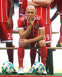 MUNICH, Aug. 8, 2017  Bayern Munich's Arjen Robben reacts prior to taking team photos at Allianz Arena in Munich, Germany, on Aug. 8, 2017. Players and coaches of Bayern Munich took team photos for the upcoming German Bundelisga season at Allianz Arena on Tuesday. (Credit Image: © Philippe Ruiz/Xinhua via ZUMA Wire)