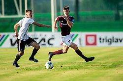Andrija Bubnjar of Mura vs Kristjan Arh Česen of Triglav during football match between NK Triglav and NS Mura in 5th Round of Prva liga Telekom Slovenije 2019/20, on August 10, 2019 in Sports park, Kranj, Slovenia. Photo by Vid Ponikvar / Sportida