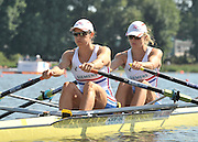 Poznan, POLAND,   GBR W2X, Bow,  Annabel BEBINGTON and Annie VERNON, competing in the heats of the men's pair, on the first day of the, 2009 FISA World Rowing Championships. held on the Malta Rowing lake, Sunday 23/08/2009 [Mandatory Credit. Peter Spurrier/Intersport Images]