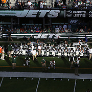 A general view of the New York Jets bench in the late afternoon sunshine during the New York Jets V New England Patriots NFL regular season game at MetLife Stadium, East Rutherford, NJ, USA. 20th October 2013. Photo Tim Clayton