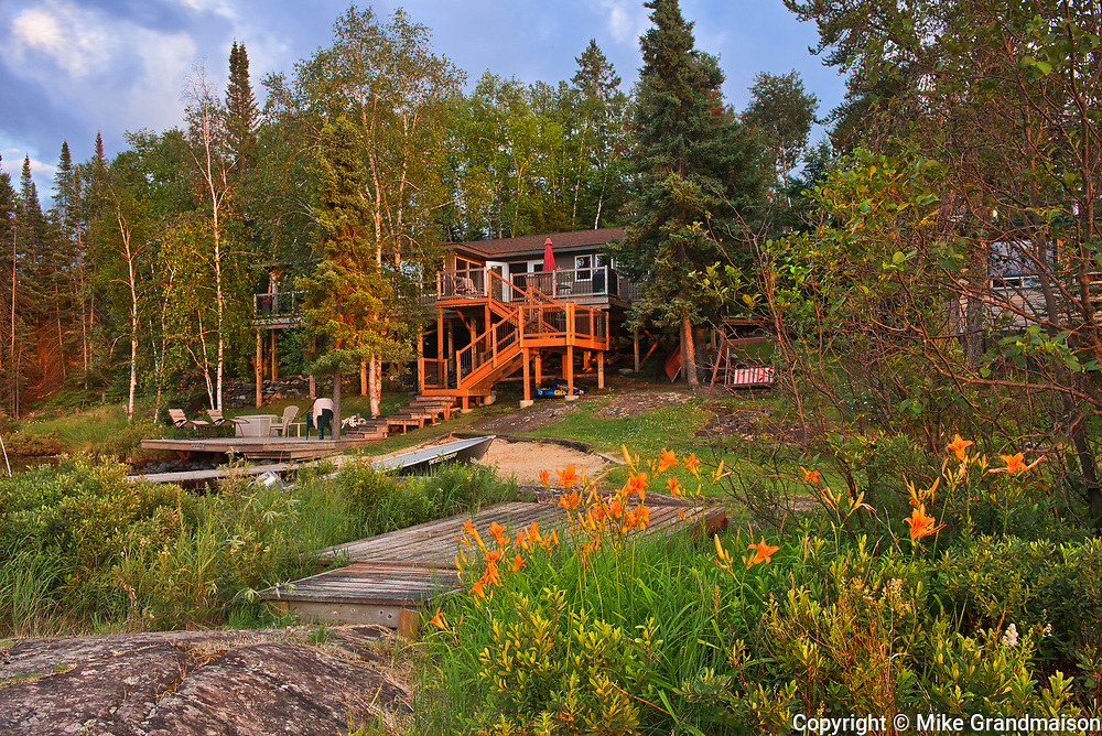 Cottage at Star Lake at sunrise. Cottage Country Living.<br />Whiteshell Provincial Park<br />Manitoba<br />Canada