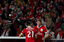 February 17, 2018 - Lisbon, Portugal - Benfica's defender Ruben Dias  (R)  celebrates his goal  with his Benfica's forward Pizzi (L)  during Primeira Liga 2017/18 match between SL Benfica vs Boavista FC, in Lisbon, on February 17, 2018. (Credit Image: © Carlos Palma/NurPhoto via ZUMA Press)