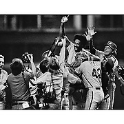 Philadelphia Phillies Gary Maddox is hoisted by his teammates after they clinched the National League title by defeating the Houston Astros in the Astrodome September 1980.©Ed Hille (keywords: baseball ;phillies; world series; national league)