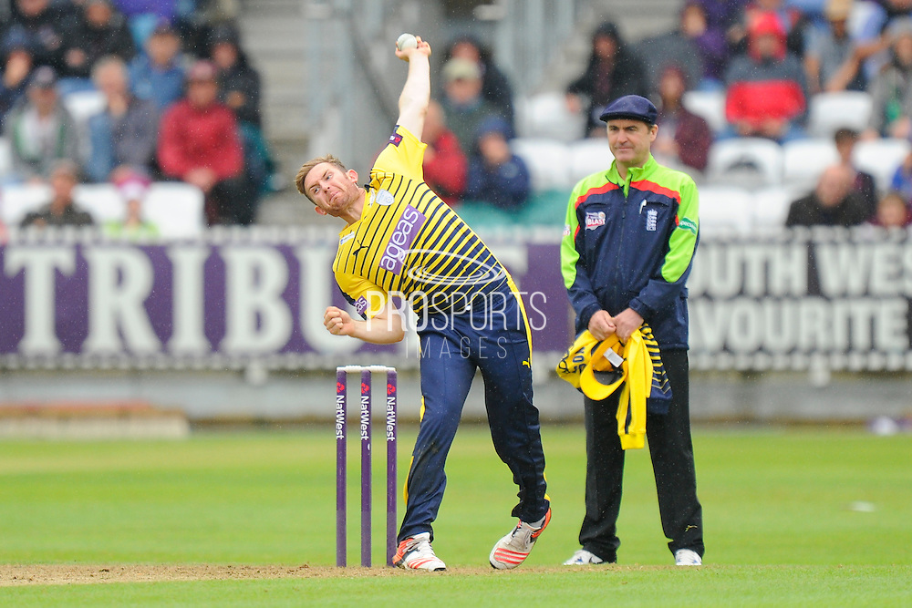 Hampshire's Liam Dawson during the NatWest T20 Blast South Group match between Somerset County Cricket Club and Hampshire County Cricket Club at the Cooper Associates County Ground, Taunton, United Kingdom on 19 June 2016. Photo by Graham Hunt.