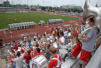 The Ohio State University Athletic Band plays as the OSU soccer teams enters the field for the second half as OSU takes on the University of North Carolina in an NCAA women's college soccer game in Columbus, Ohio on Sunday, Sept. 4, 2011, at Jesse Owens Memorial Stadium.