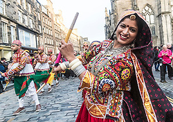 The Edinburgh Diwali celebration culminates in a procession from the City Chambers on the historic Royal Mile to the Princes Street Gardens. Celebrated throughout the world by Hindus, Seikhs and Jains, the Festival of Light symbolises the victory of good over evil. People celebrate Diwali through distributing sweets, gifts and thanks giving to each other.<br /> <br /> Pictured: Performers from Scottish Indian Arts Forum