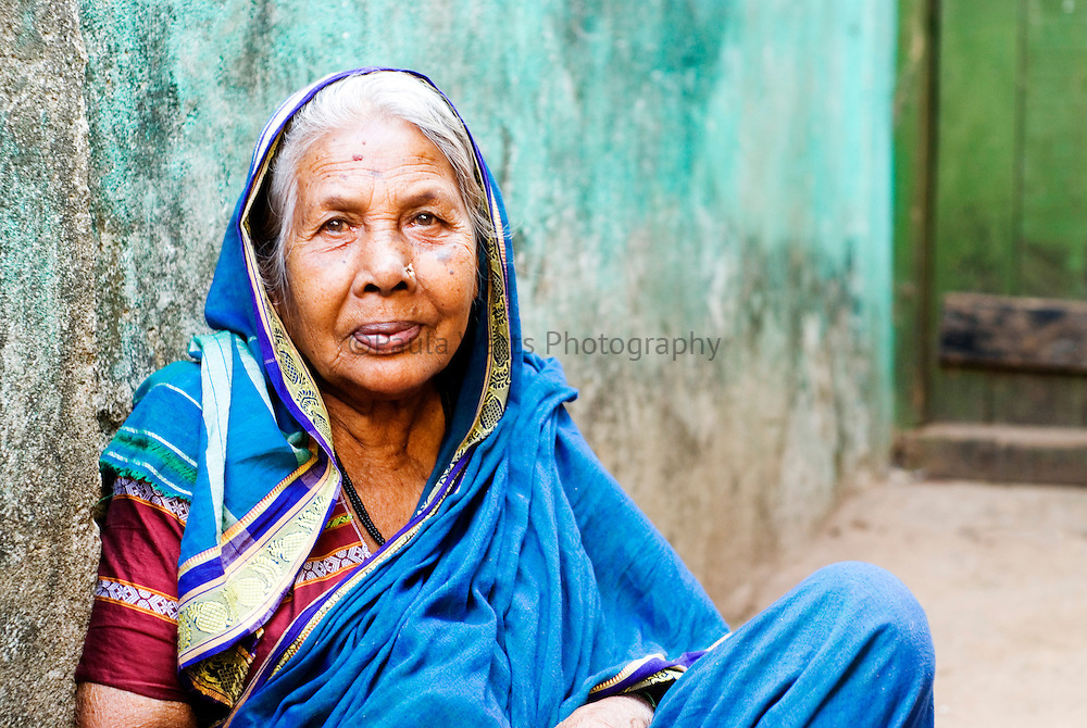 Portrait of elderly Indian woman in Goa India