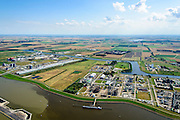 Nederland, Groningen, Delfzijl, 05-08-2014; haven Delfzijl met Chemie Park Delfzijl en Eemskanaal. Links aluminiumsmelter Aldel.<br /> Delfzijl, port and Chemical Park Delfzijl. Eemskanaal.<br /> luchtfoto (toeslag op standard tarieven);<br /> aerial photo (additional fee required);<br /> copyright foto/photo Siebe Swart