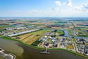 Nederland, Groningen, Delfzijl, 05-08-2014; haven Delfzijl met Chemie Park Delfzijl en Eemskanaal. Links aluminiumsmelter Aldel.<br /> Delfzijl, port and Chemical Park Delfzijl. Eemskanaal.<br /> luchtfoto (toeslag op standard tarieven);<br /> aerial photo (additional fee required);<br /> copyright foto/photo Siebe Swart
