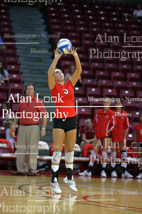 28 September 2008: Lyndi Senkpiel set the ball. The Braves took the first set, but the Illinois State Redbirds grabbed 3 sets in a row to win the match 3 sets to 1. The Bradley Braves visited the Illinois State Redbirds at Redbird Arena on the campus of Illinois State University in Normal Illinois.