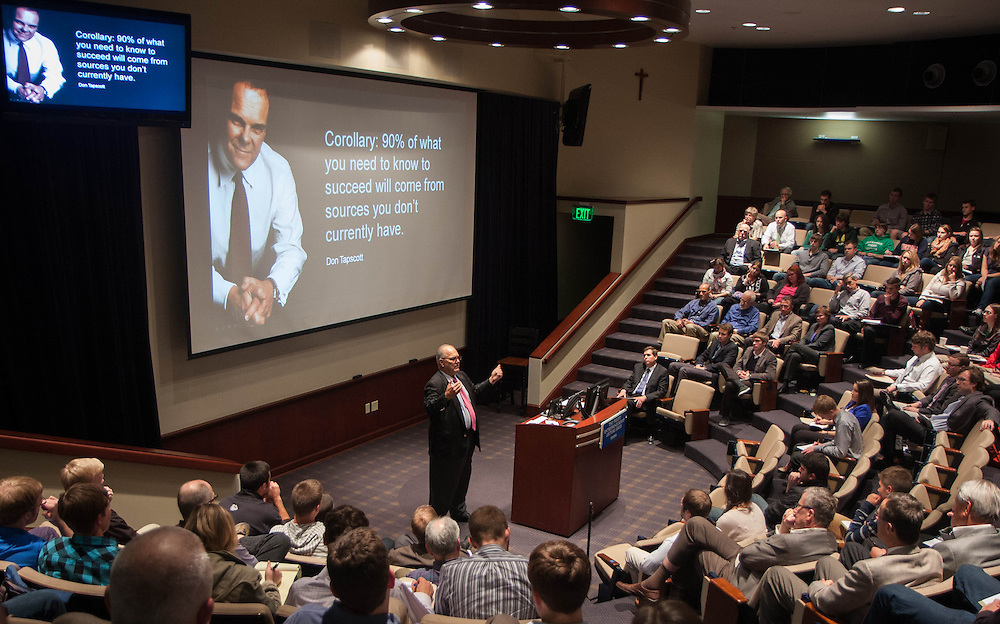 Dave Sabey speaks at the Pigott Lecture at Wolff Auditorium in Jepson at Gonzaga University. (Photo by Connor Johnson)
