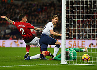 Football - 2018 / 2019 Premier League - Tottenham Hotspur vs. Manchester United<br /> <br /> Tottenham Hotspur's Harry Kane gets the ball in the net but the goal was disallowed for offside, at Wembley Stadium.<br /> <br /> COLORSPORT/ASHLEY WESTERN