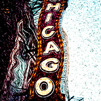 Digital art of Chicago Theatre sign. The Chicago Theatre was built in 1921 and is a very popular Chicago attraction for concerts, plays, and other live performances.