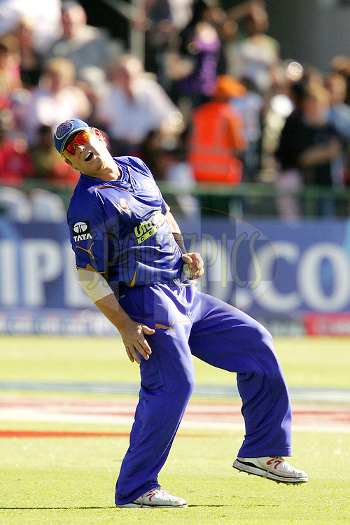PORT ELIZABETH, SOUTH AFRICA - 02 May 2009. Shane Warne catches Rohit Sharma during the  IPL Season 2 match between the Deccan Chargers and the Rajatshan Royals held at St Georges Park in Port Elizabeth , South Africa..