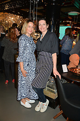 Left to right, KATE SPICER and THOMASINA MIERS at Fork to Fork - a Fundraising Feast to support The Open Air Classroom Project held at The Dock Kitchen, Portobello Docks, 342-344 Ladbroke Grove,  London,  London on 19th May 2015.