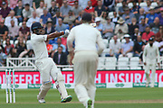 Cheteshwar Pujara of India pulls Chris Woakes of England and is caught by Adil Rashid of England during the 3rd International Test Match 2018 match between England and India at Trent Bridge, West Bridgford, United Kingdon on 18 August 2018.