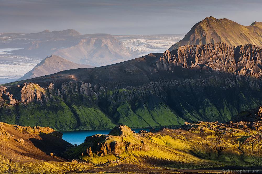 On route F210 - South Fjallabak, Interior of Iceland. Looking Southeast towards lake Álftavatn, ridge Brattháls, mount Stórasúla and Mýrdalsjökull Glacier in background.