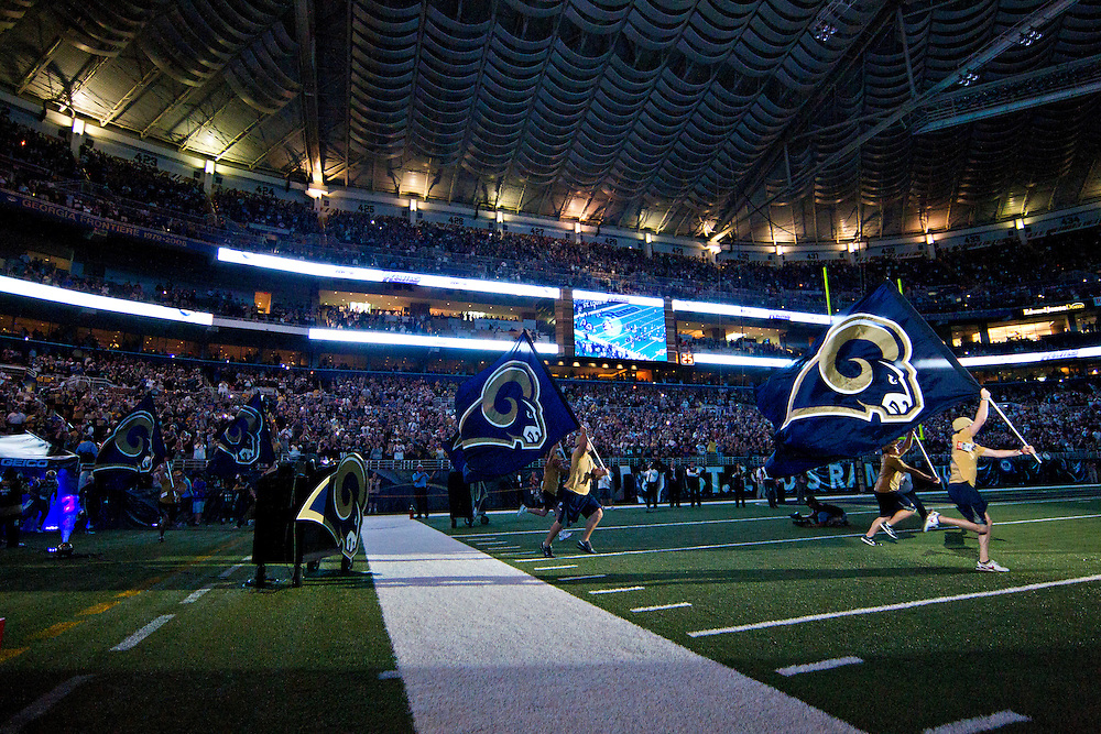 ST. LOUIS, MO - SEPTEMBER 11:   Ceremonies of the St. Louis Rams before a game against the Philadelphia Eagles at the Edward Jones Dome on September 11, 2011 in St. Louis, Missouri.  The Eagles defeated the Rams 31 to 13.  (Photo by Wesley Hitt/Getty Images) *** Local Caption ***