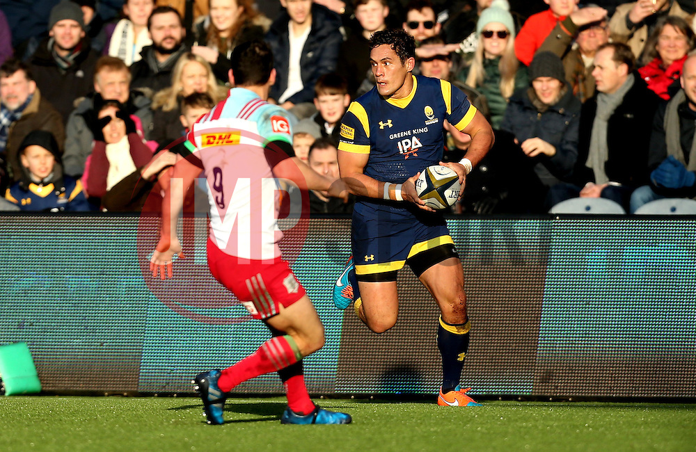 Jackson Willison of Worcester Warriors runs with the ball - Mandatory by-line: Robbie Stephenson/JMP - 28/01/2017 - RUGBY - Sixways Stadium - Worcester, England - Worcester Warriors v Harlequins - Anglo Welsh Cup