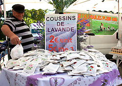 Lavender sachets are widely sold in the public markets.  Thursdays are market day in this interesting small town across the Rhone River from Avignon.  Easily accessed by city bus, the market offers the freshest of locally grown foods, along with a wide variety of crafts and clothing, a good stop for regional souvenirs.