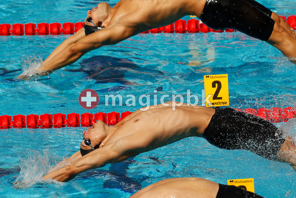 Flori LANG of Switzerland starts in the men's 50m Backstroke Heats at the European Swimming Championship at the Hajos Alfred Swimming complex in Budapest, Hungary, Wednesday, Aug. 11, 2010. (Photo by Patrick B. Kraemer / MAGICPBK)