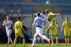 Joaquim Manuel Welo Lupeta of NK Celje and Zeni Husmani of NK Domzale during football match between NK Domzale and NK Celje in Round #20 of Prva liga Telekom Slovenije 2017/18, on April 18, 2018 in Sports Park Domzale, Domzale, Slovenia. Photo by Urban Urbanc / Sportida