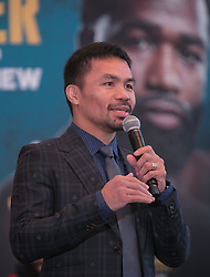 November 20, 2018 - Beverly Hills, California, U.S - Manny Pacquiao addresses the media along with Adrien Broner at a news conference on Tuesday, November 20, 2018, in Beverly Hills, California. Pacquiao will defend his World Boxing Association welterweight title against Broner on January 19, 2019, in Las Vegas. (Credit Image: © Prensa Internacional via ZUMA Wire)