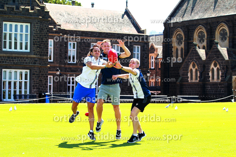 11.03.2015, Albert Park Circuit, Melbourne, AUS, FIA, Formel 1, Grand Prix von Australien, Vorberichte, im Bild Joel Selwood (AUS) AFL Player with Felipe Massa (BRA) Williams and Valtteri Bottas (FIN) Williams at an Aussie Rules skills session // during Preparations for the FIA Formula One Grand Prix of Australia at the Albert Park Circuit in Melbourne, Australia on 2015/03/11. EXPA Pictures &copy; 2015, PhotoCredit: EXPA/ Sutton Images/ Dirk Klynsmith Images<br /> <br /> *****ATTENTION - for AUT, SLO, CRO, SRB, BIH, MAZ only*****