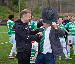 RHOSYMEDRE, WALES - Sunday, May 5, 2019: The New Saints' manager Scott Ruscoe celebrates with club chairman Mike Harris during the FAW JD Welsh Cup Final between Connah's Quay Nomads FC and The New Saints FC at The Rock. (Pic by David Rawcliffe/Propaganda)