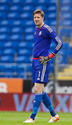 CARDIFF, WALES - Friday, June 5, 2015: Wales' goalkeeper Wayne Hennessey during a practice match at the Cardiff City Stadium ahead of the UEFA Euro 2016 Qualifying Round Group B match against Belgium. (Pic by David Rawcliffe/Propaganda)