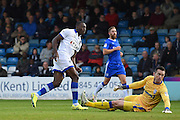 Oldham Athletic forward Freddie Ladapo (12) scores (1-1) during the EFL Sky Bet League 1 match between Gillingham and Oldham Athletic at the MEMS Priestfield Stadium, Gillingham, England on 8 October 2016. Photo by Martin Cole.
