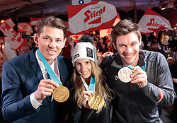 22.02.2018, Austria House, Pyeongchang, KOR, PyeongChang 2018, Medaillenfeier, im Bild v.l. Andre Myhrer (SWE) Anna Gasser (AUT), Michael Matt (AUT) mit ihren Medaillen // f.l. gold medalist and Olympic champion Andre Myhrer of Sweden gold medalist and Olympic champion Anna Gasser of Austria bronce medalist Michael Matt of Austria show their medals during a medal celebration of the Pyeongchang 2018 Winter Olympic Games at the Austria House in Pyeongchang, South Korea on 2018/02/22. EXPA Pictures © 2018, PhotoCredit: EXPA/ Johann Groder