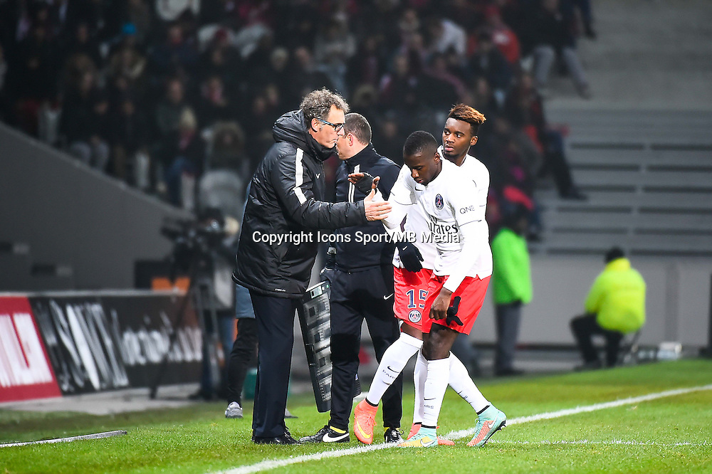 Laurent BLANC / Blaise MATUIDI / Jean Christophe BAHEBECK - 03.12.2014 - Lille / Paris Saint Germain - 16eme journee de Ligue 1 -<br />