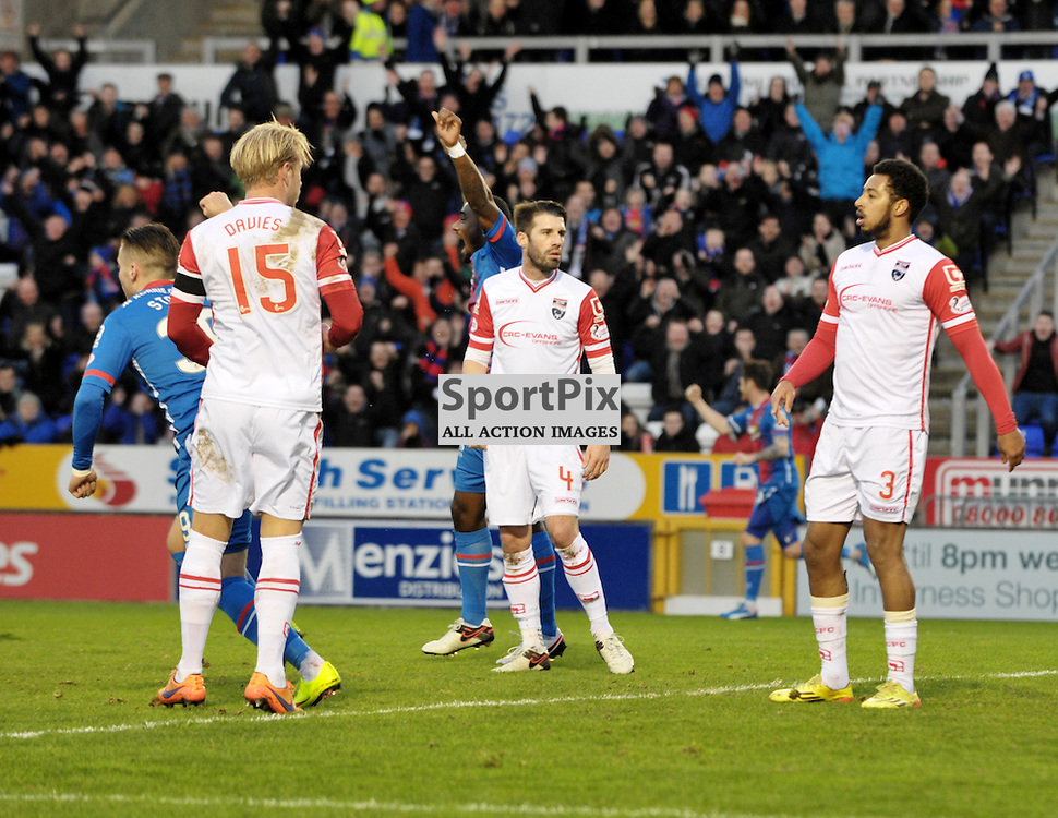 Miles Storey (ICT, Blue &amp; Red, 39) scores the first goal with a cheeky back heel<br /> <br /> Inverness Caledonian Thistle v Ross County, Ladbroke's Premiership, Saturday 2nd January 2016<br /> <br /> (c) Alex Todd | SportPix.org.uk