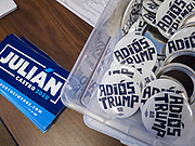 17 OCOTBER 2019 - DES MOINES, IOWA: Bumper stickers and campaign buttons for Julián Castro at Urban Dreams, a human services agency for under served communities in Des Moines. Castro is visiting Iowa to support his bid to be the Democratic nominee for the US Presidency. Iowa traditionally hosts the the first selection event of the presidential election cycle. The Iowa Caucuses will be on Feb. 3, 2020.                  PHOTO BY JACK KURTZ