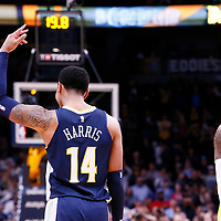09 March 2018: Denver Nuggets guard Gary Harris (14) celebrates next to Los Angeles Lakers guard Kentavious Caldwell-Pope (1) during the Denver Nuggets125-116 victory over the Los Angeles Lakers, at the Pepsi Center, Denver, Colorado, USA.
