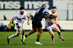 Nick Williams of Cardiff Blues tackles Murray Douglas of Edinburgh Rugby - Mandatory by-line: Ryan Hiscott/JMP - 05/10/2019 - RUGBY - Cardiff Arms Park - Cardiff, Wales - Cardiff Blues v Edinburgh Rugby - Guinness Pro 14