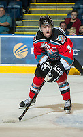 KELOWNA, CANADA - OCTOBER 3: Zach Franko #9 of the Kelowna Rockets skates with the puck against the Vancouver Giants at the Kelowna Rockets on October 3, 2012 at Prospera Place in Kelowna, British Columbia, Canada (Photo by Marissa Baecker/Getty Images) *** Local Caption *** Zach Franko;