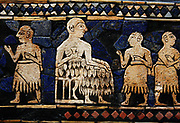 Detail from The Peace frieze from the Standard of Ur.  Sumerian artefact excavated from the Royal Cemetery in Ur (located in modern-day Iraq). The Standard of Ur dates from around 2600 - 2400 BCE, and was excavated by British archaeologist Sir Leonard Woolley in the