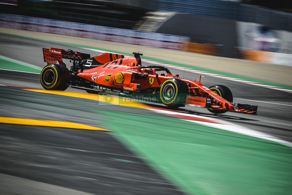 May 12, 2019 - Barcelona, Catalonia, Spain - SEBASTIAN VETTEL (GER) from team Ferrari drives in his SF90 during the Spanish GP at Circuit de Catalunya (Credit Image: © Matthias Oesterle/ZUMA Wire)